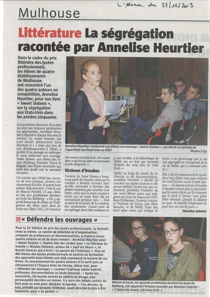 L'Alsace du 27/12/2013