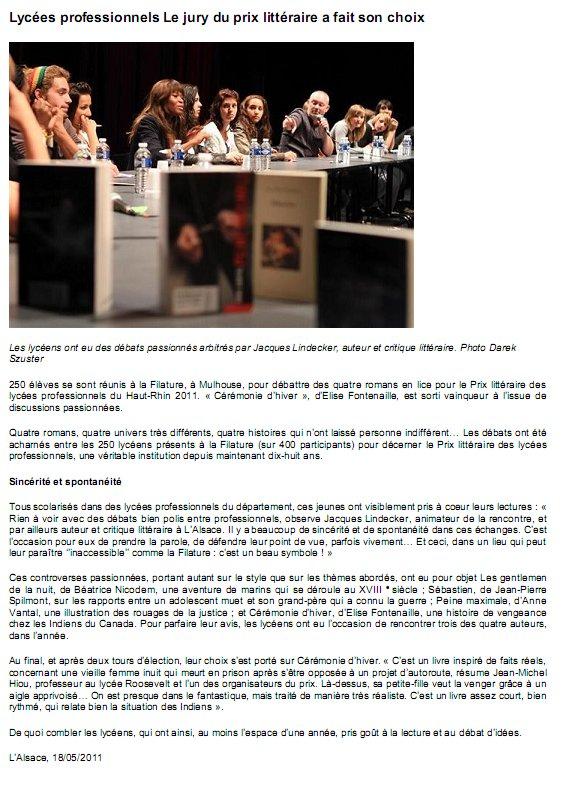Le jury 2011 dans l'Alsace