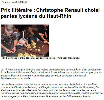 Christophe Renault choisi par les lycéens