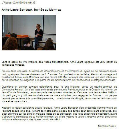 Anne-Laure Bondoux à Saint-Louis
